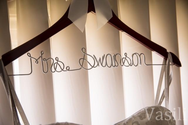 image of hanger that spells mrs swanson